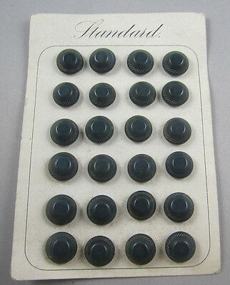 24 Antique Deep Teal w/ Gold Paint Vegetable Ivory VI Buttons on Original Card