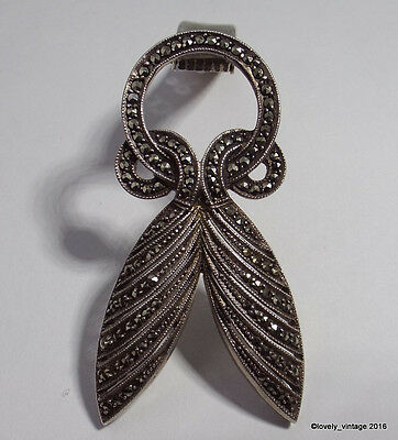 German Art Deco 935 Sterling Silver & Marcasite Dress Clip - Signed F.A. - DRGM