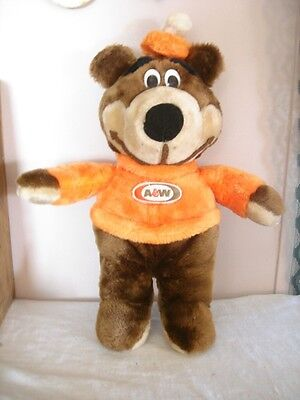 """A&W Rootbeer Bear Stuffed Animal Canasia Toy Vintage Canada 7"""""""