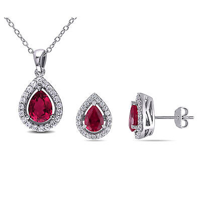 Sterling Silver Created Ruby & White Sapphires 2-Piece Earring and Necklace Set