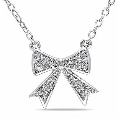Amour Sterling Silver 1/10 Ct TDW Diamond Necklace H-I I2-I3