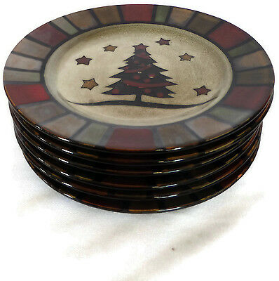 Set of 6 Salad Plates Cuisinart Christmas Holiday Stoneware