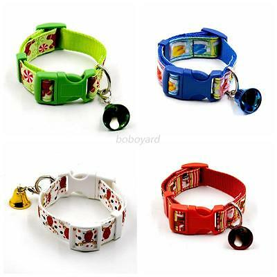 Cute Adjustable Pet Dog Cat Christmas Collar Puppy Neck Strap with Small Bell