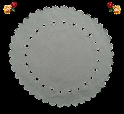 Vintage Round Handmade Embroidered Madeira Lace Doily Scallop White Cotton