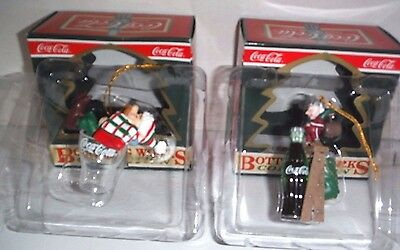 2 Vintage Coca Cola Bottling Works Collection Christmas Ornaments