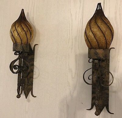 Pair Large Hammered Metal Gothic Medieval Castle Wall Sconces Lights Amber Glass