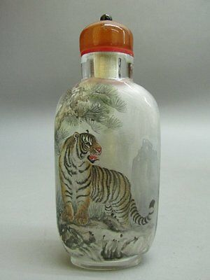 Chinese Glass Hand Inside-drawing Tiger Pattern Snuff Bottle