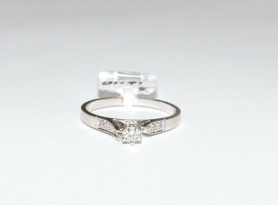 Solid 18k White Gold Diamond Engagement Ladies Ring 2.1gm Sz. M #720304