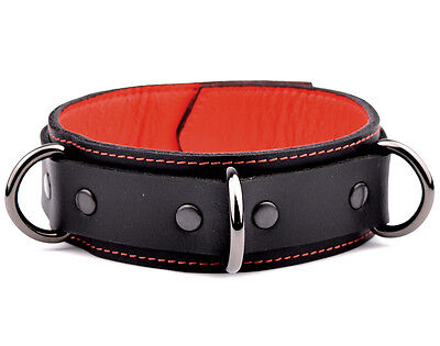 PREMIUM Heavy Duty Black Leather Collar Beautiful Supple Leather col8BlkRdStRd