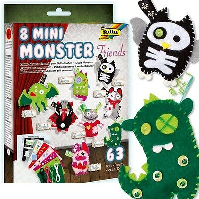 Mini Monster Friends Bastelset für 8 Monster, Filz, Garn, Bänder, Deko