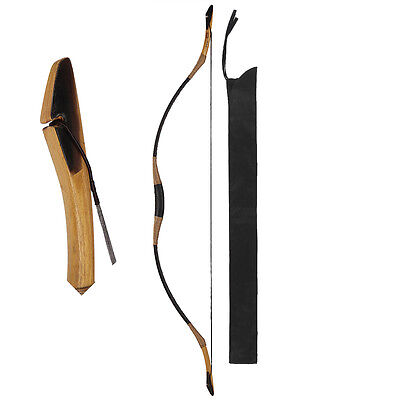80-110Lbs Archery Traditional Hunting Longbow Recurve Horsebow Black Ox Horn