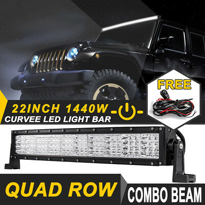 """22Inch 1440W Curved LED Work Light Bar QUAD ROW Offroad Truck ATV SUV 4WD 20/23"""""""