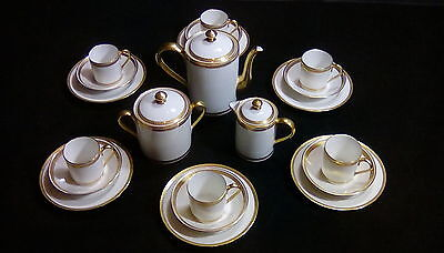 White and gold painted Limoges coffee set 21 pieces