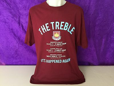 West Ham United The Treble It'S Happened Again Tee Shirt Official Size Xl