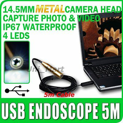 Endoscopio USB Boroscopio Inspección de metal cámara 5M/16 Ft Cable