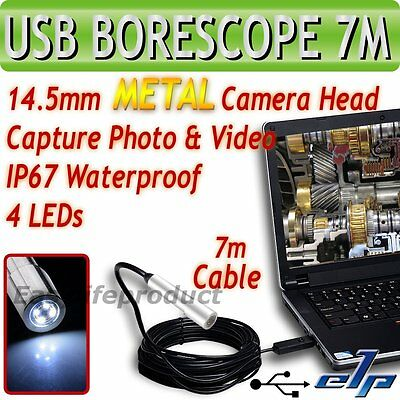 USB Metal Cámara Inspección Monitor Endoscope Boroscopio Cable 7M