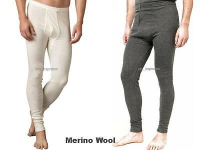 Mens Merino Wool Blend Thermal Long Johns Pants ( S M L XL 2XL) Beige/ Dark Grey