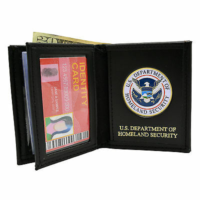 Department of Homeland Security DHS Wallet Perfect Fit Black Leather with Emblem