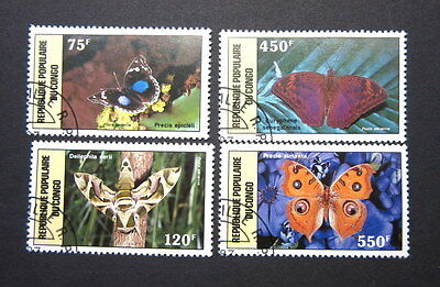 Congo Republic 1987 (4) Butterflies Stamps Postage Crafts Decoupage