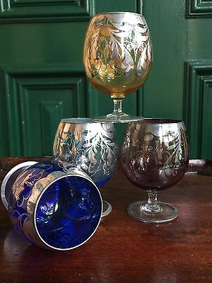 Antique Drinking Glasses,C1930,Venetian,Coloured Glass,Set of 4, silver overlay