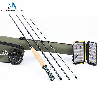 5WT Fly Fishing Combo 9FT Medium-fast Fly Rod Graphite Reel Line & Triangle Tube