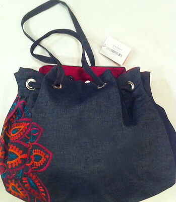 Ladies Handloom Denim Fabric Bag with Multicoloured Embroidery