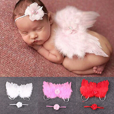 Newborn Girl Baby Kids Feather Lace Flowers Headband & Angel Wings Photo Prop