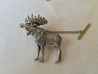 A47 Standing Moose Tie Pin With Chain english pewter handmade in sheffield