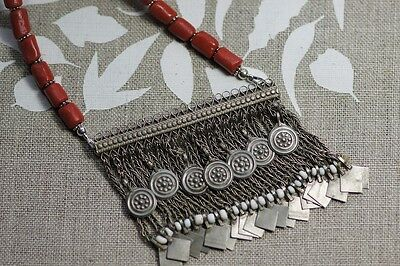 Ethnic Tribal Afghan Kuchi Pendant Necklace with Red Glass Beads E 015