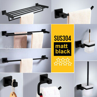 Matt Black Square Towel Rack Rail Tissue Roll Toilet Brush Holder Robe Hook NEW