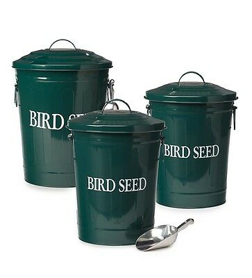 Weather Resistant Galvanized Metal Birdseed Containers, Set of 3