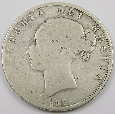 QUEEN VICTORIA YOUNG HEAD SILVER HALF- CROWN dated 1883