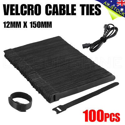 1000 x Black Velcro Nylon Cable Ties Hook Loop Strap Wrap Free Postage Reusable
