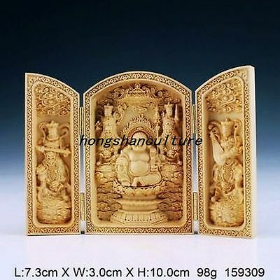 Oriental Vintage Handwork Carved Boxwood Buddha Statue China Calligraphy Sutra B