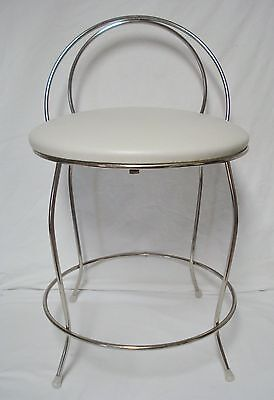 Vintage Glam Vanity Seat Chair Chrome White Vinyl Koch & Sons USA Made EUC