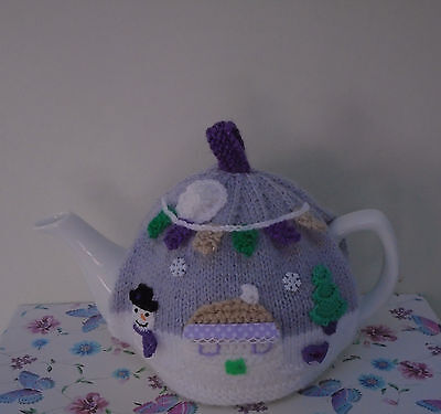 Hand Knitted Winter Garden Tea Cosy For A Medium Teapot Snowman And Bunting