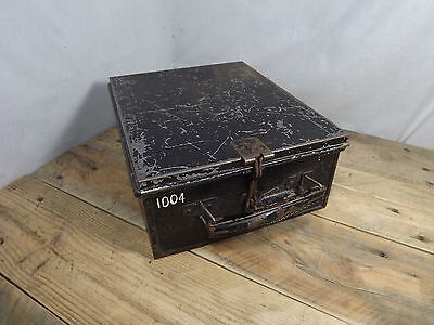 Vintage Bank Lock Box Security Deed Box With Crush Preventer? Unusual Toolkit