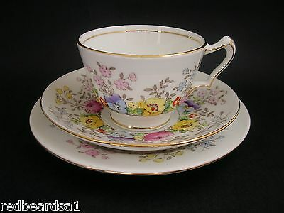 Crown Staffordshire Pansy Floral Trio Tea Cup Saucer Plate c1950's F15465