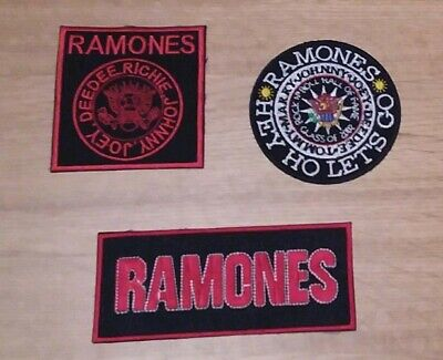 SET OF THREE HEAVY METAL PUNK ROCK MUSIC SEW ON / IRON ON PATCHES:- RAMONES (a)