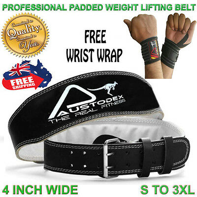 Weight lifting bodybuilding back support weightlifting Leather Belt 4""