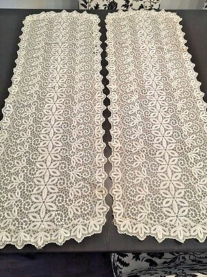 2 GORGEOUS Antique Vintage PAIR Dresser Scarf / Table Runner Victorian Net Lace