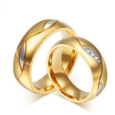 18K Gold Plated Titanium Steel Wedding CZ Band Men/Womens Couple Rings Size 5-13