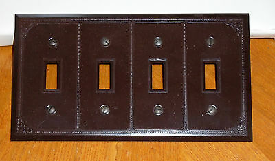 Vtg Dark Brown 4 Gang Light Switch Plate Art Deco Made In Canada Nos Nip