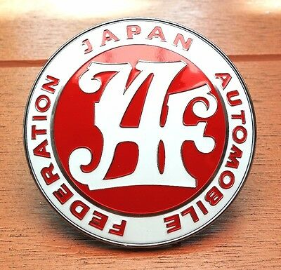 Universal JDM JAF Japan Automotive Federation emblem Front badge Red