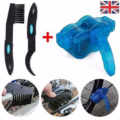 Bike Bicycle Motorcycle Chain Wheel Cleaner Wash Scrubber Brush Set Cleaning Kit