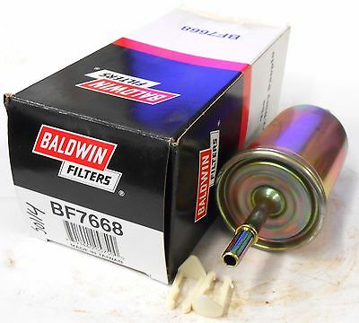 """Baldwin In-Line Fuel Filter Bf7668, (2) 3/8"""" Clips, Wix 33595"""