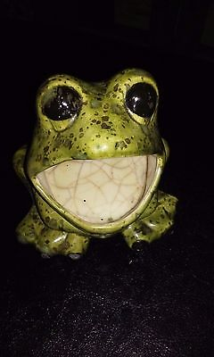 VTG 70's WIDE Mouth Frog Hippie Spatter Ceramic Sponge Scrubbie Holder Kitchen