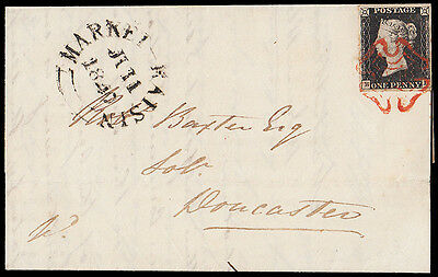 SG2 1840 1d. Black BL. Very fine four margin example on entire. 311916