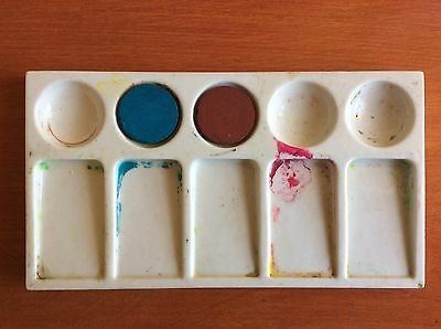 Vintage Porcelain Watercolor Pallette w/ 2 original paints, Nice collectible!