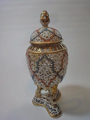 Antique Royal Worcester Reticulated Jewelled Porcelain Vase, 8 in.